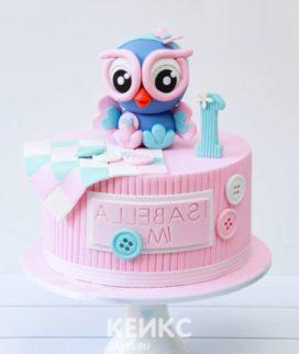 Розовый торт с совенком и пуговичками Фото