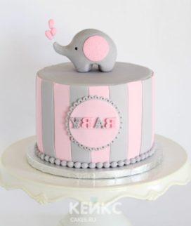 Торт с розовым слоником и надписью Фото