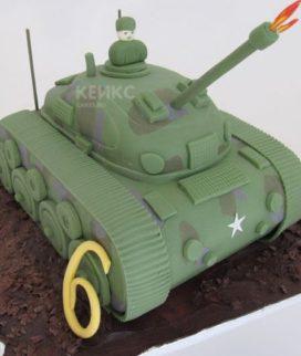Торт танк с открытым люком Фото