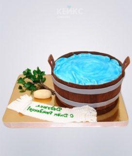 Торт баня в виде деревянной шайки Фото