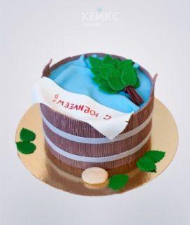 Торт баня в виде деревянной шайки и веника Фото