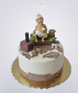 Торт баня с лежаком и печкой Фото