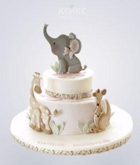 Торт с жирафами и слоненком Фото