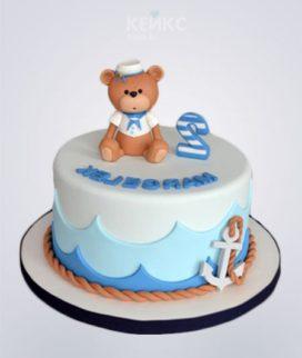 Морской торт с медвежонком и якорем Фото