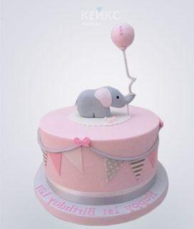 Розовый торт со слоником и шариком Фото