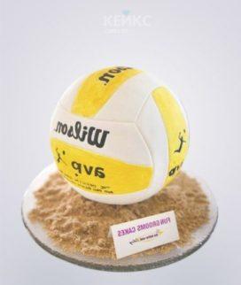 Торт волейбол в виде желто-белого мяча Фото