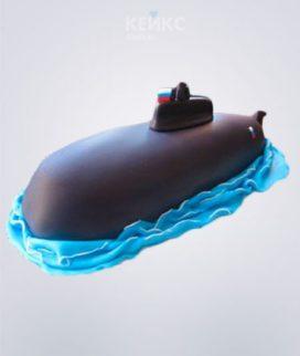 Торт в виде подводной лодки из мастики с российским флагом Фото