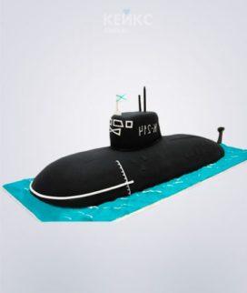 Торт в виде черной подводной лодки с флагом Фото