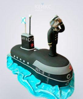 Торт мужчине в виде подводной лодки с фигуркой капитана из мастики Фото