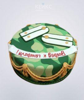 Купить эффектный зеленый торт с погонами на заказ в Москве: фото, цена Фото