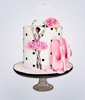 Торт с балериной и пуантами Фото