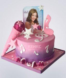 Торт с микрофоном для юной певицы Фото