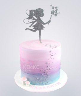 Торт с серебристой феей с волшебной палочкой Фото