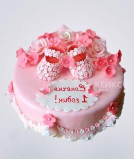 Торт с розовыми туфельками в цветочек Фото