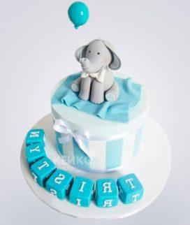 Торт бирюзовый с серым слоником и шариком Фото