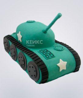 Торт в виде танка с пушкой и звездой Фото