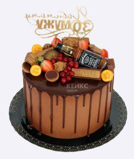 Торт шоколадный с фруктами и бутылкой Фото