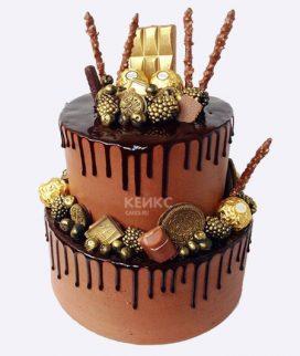 Торт шоколадный с золотой плиткой Фото