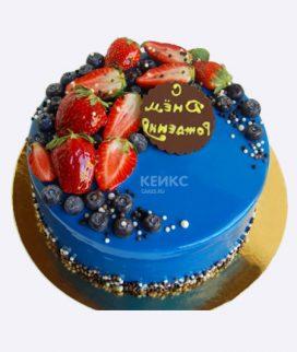 Синий торт с клубникой и надписью Фото