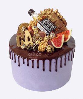 Торт с шоколадной глазурью и инжиром Фото
