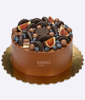 Стильный торт с печеньем и фруктами Фото