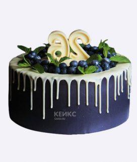 Черный торт с голубикой Фото