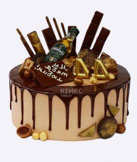 Торт с золотыми цифрами и шоколадом Фото