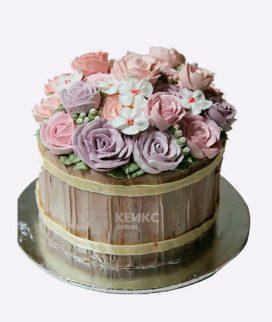 Торт корзина с цветами без мастики 1 Фото
