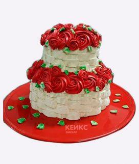 Торт корзина с цветами без мастики 2 Фото
