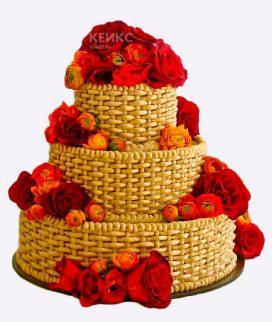 Торт корзина с цветами без мастики 8 Фото