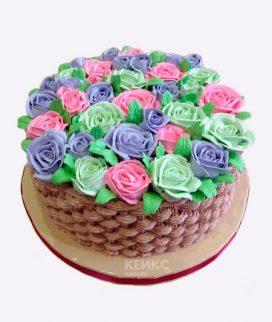 Торт корзина с цветами без мастики 3 Фото