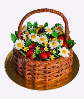 Торт корзина с цветами без мастики 4 Фото