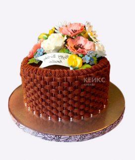 Торт корзина с цветами без мастики 5 Фото
