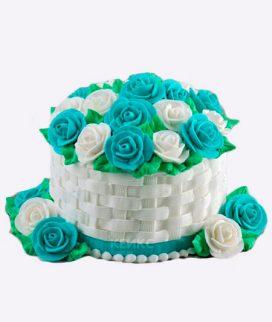 Торт корзина с цветами без мастики 6 Фото