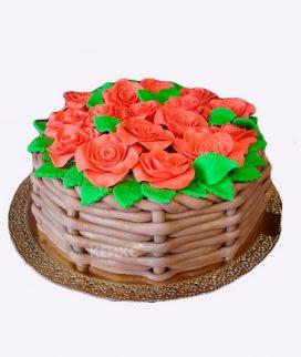 Торт корзина с цветами без мастики 7 Фото