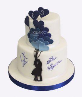 Торт с влюбленными и воздушными шарами Фото