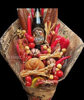 Букет из колбасы и хлеба 2 Фото