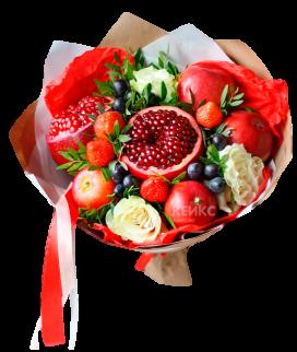 Букет с фруктами и цветами 1 Фото