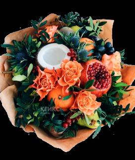 Букет с фруктами и цветами 11 Фото