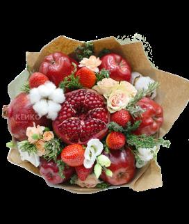 Букет с фруктами и цветами 12 Фото