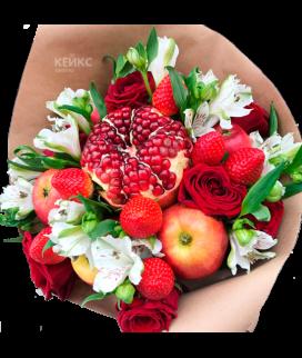 Букет с фруктами и цветами 13 Фото
