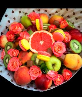 Букет с фруктами и цветами 2 Фото