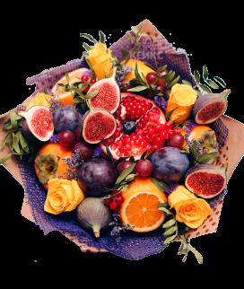 Букет с фруктами и цветами Фото