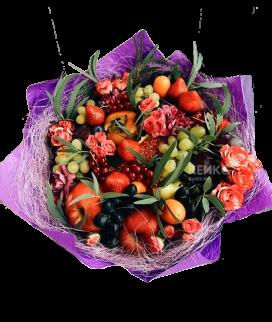Букет с фруктами и цветами 3 Фото
