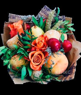 Букет с фруктами и цветами 4 Фото