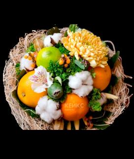 Букет с фруктами и цветами 5 Фото
