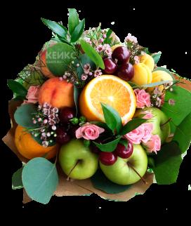 Букет с фруктами и цветами 6 Фото