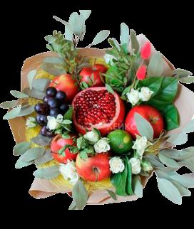 Букет с фруктами и цветами 7 Фото