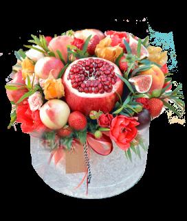 Букет с фруктами и цветами 9 Фото