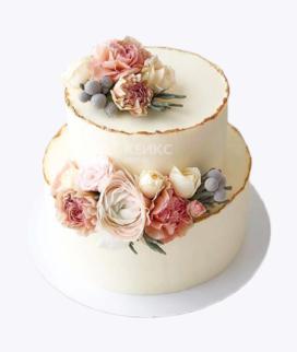 Двухъярусный свадебный торт без мастики 1 Фото
